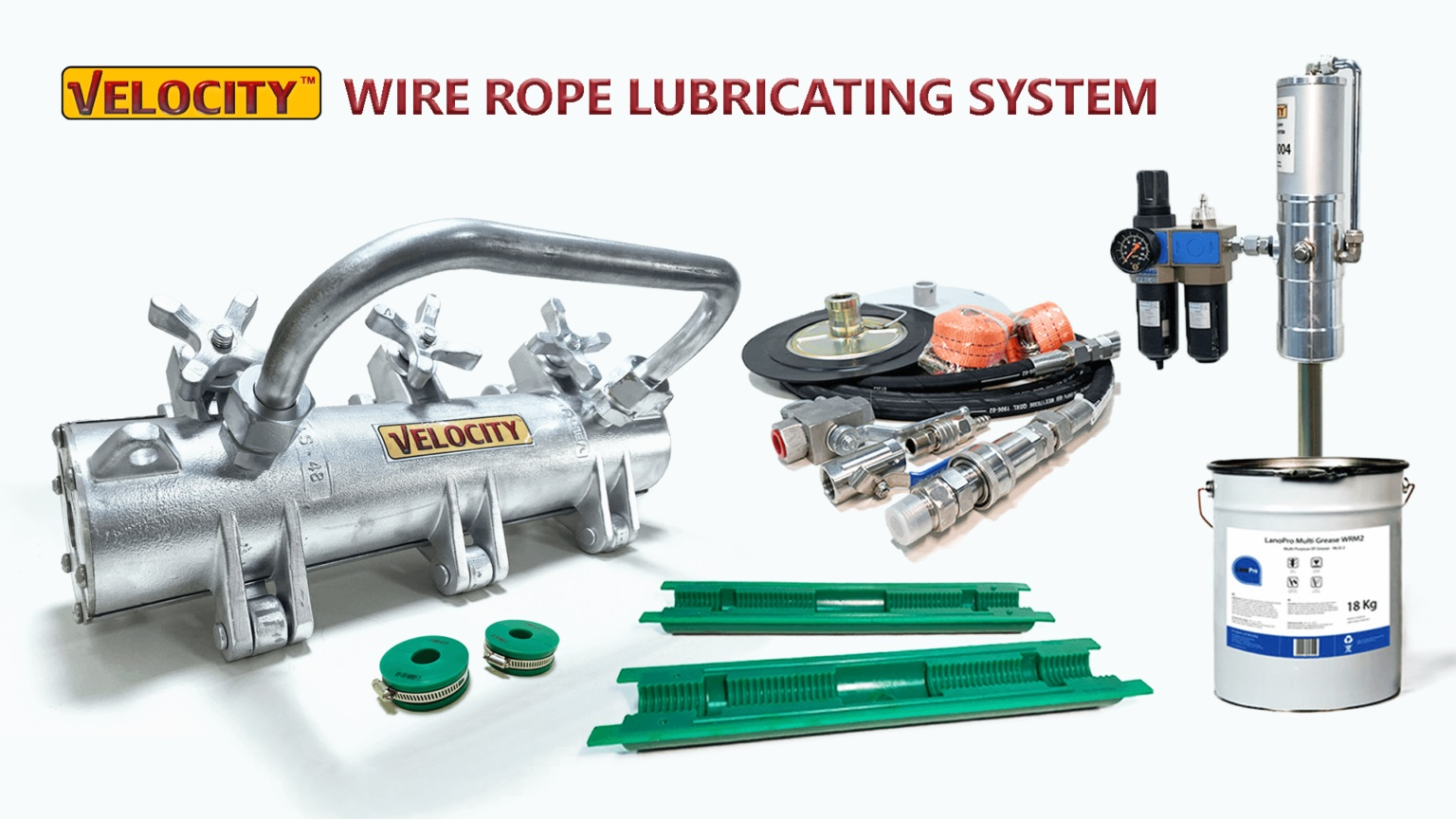 Wire rope lubricating system